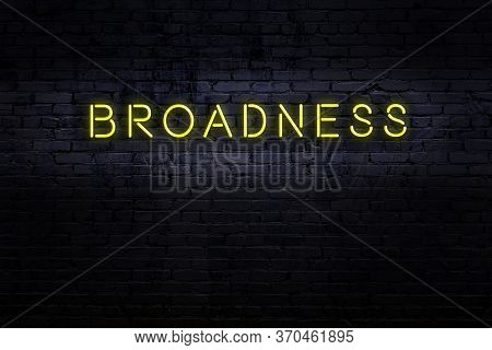 Neon Sign On Brick Wall At Night. Inscription Broadness