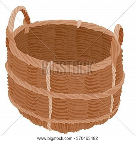 Brown Wicker Basket For Harvesting From The Garden, Flat, Isolated Object On A White Background, Vec