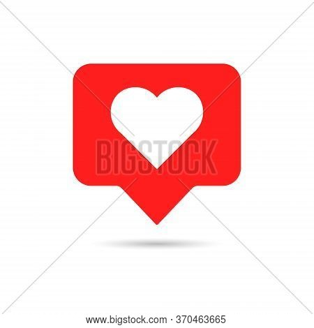 Like Icon In Flat Style. White Heart On Red Background. Emoji Symbol For Web Social Comments. Thumbs