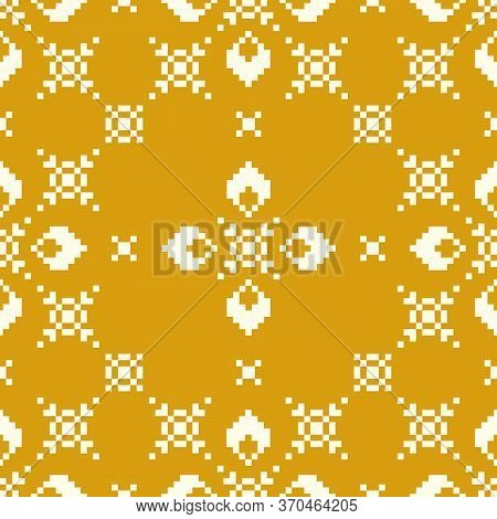 Seamless Lace Pattern With Folkloric Floral Ornament.