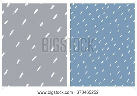 Cute Abstract Spots Vector Pattern. White Irregular Brush Lines On A Dark Gray And Pale Blue Backgro