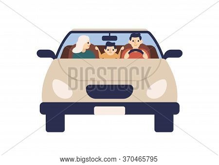Happy Family Riding On Car Together Front View Vector Flat Illustration. Smiling Father, Mother And