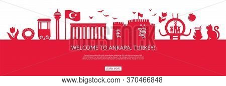 Welcome To Ankara, Turkey! Red City Silhouette And Famous Turkish Landmarks. City Skyline With Symbo