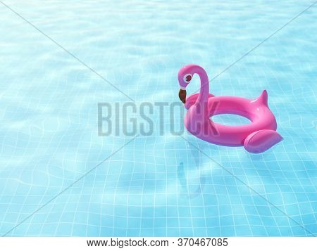 Swimming Pool With Float Pink Inflatable Flamingo On Ripple Blue Water With Space For Your Text, 3d