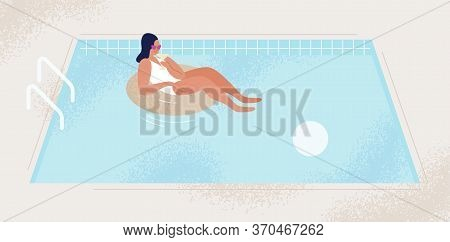 Relaxed Fashionable Woman With Cocktail At Swimming Pool Vector Flat Illustration. Female In Swimsui