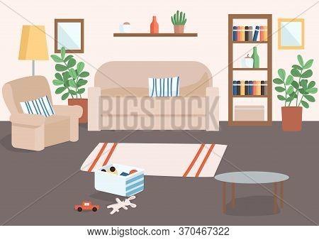 Family Living Room Flat Color Vector Illustration. Basket With Childrens Toys On Floor. Carpet For H