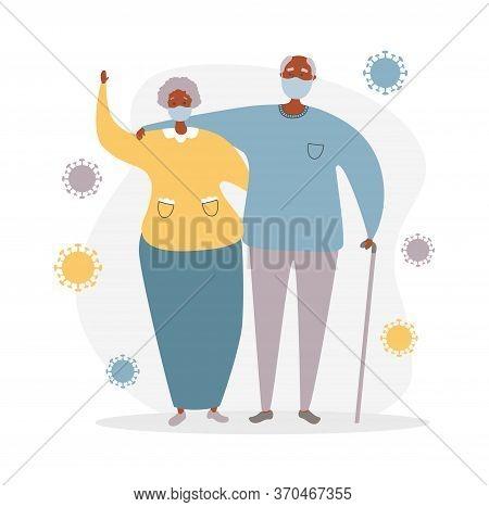 Afro American Senior Couple And Coronavirus Cells. Elderly People And Coronavirus Infection. Protect