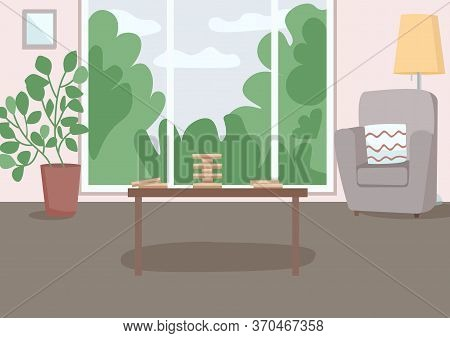 Spacious Living Room For Leisure Flat Color Vector Illustration. Wooden Block Tower On Table For Gam