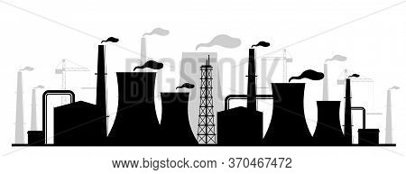 Power Plant Black Silhouette Vector Illustration. Industrial Facility Monochrome Landscape. Atomic E