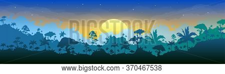 Jungle Flat Color Vector Illustration. Morning Forest Scenery. Panoramic Woods At Dawn. Tropical Sce