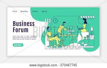 Business Forum Landing Page Flat Silhouette Vector Template. Company Development Seminar Homepage La