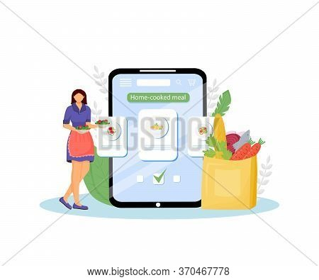 Home-cooked Meals Online Ordering Flat Concept Vector Illustration. Certified Home Kitchen. Female C