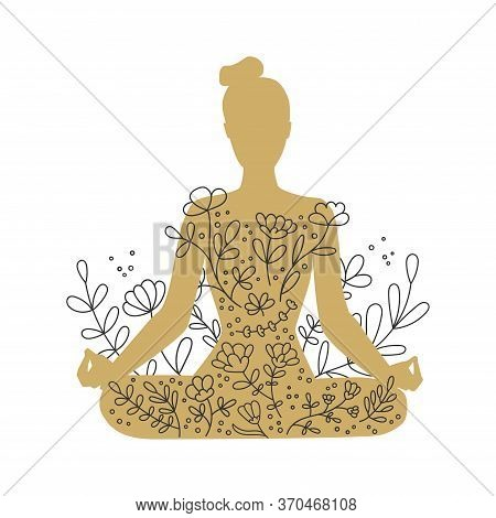 Woman Meditating In The Lotus Position. Golden Female Silhouette And Floral Ornament. Hand Drawn Doo
