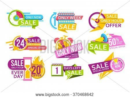 Limited Time Sale. Countdown Banner To Special Offer Of Discount And Super Sale. Last Day Tag, Only