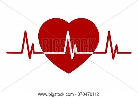 Vector Heart Icon With A Cardio Line.
