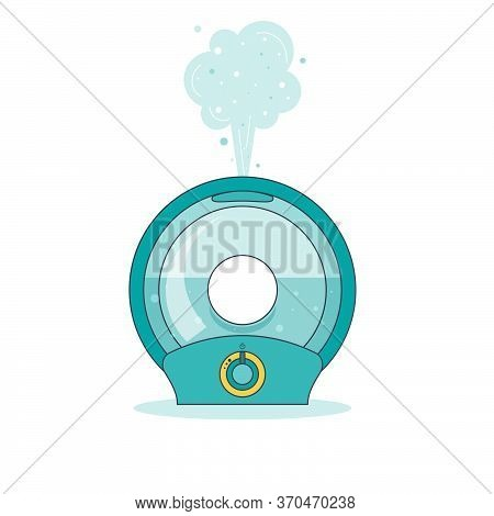 Icon Round Humidifier With Outgoing Steam Humidify In Flat Style. Vector Illustration
