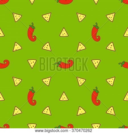 Seamless Pattern With Nacho Chips And Chili Peppers On Green Guacamole Background. Mexican Food. Vec