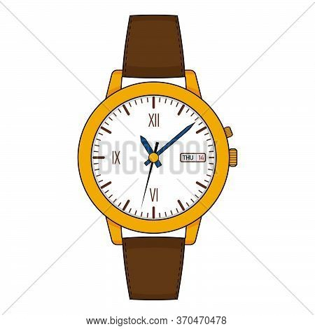 Yellow Golden Stylish Watch With Leather Strap. Vector Flat Illustration