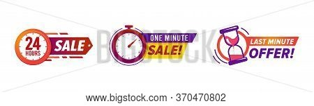 Flash Sale Countdown Badges, Limited Time Offer Banner Sticker