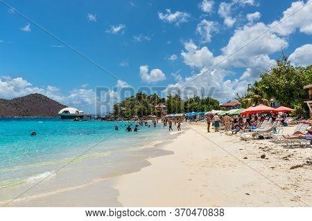 Coki Point, St. Thomas, U.s. V. Islands (usvi) - April 30, 2019: People Relax On The Coki Point Beac