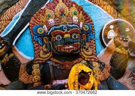 Six Armed Mahakala Or Kal Bhairav Statue In Durbar Square Kathmandu, Nepal.