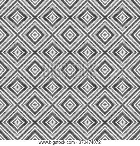 Watercolor Geometric Rhombus Squares Seamless Pattern. Black Stripes On White Background. Watercolou