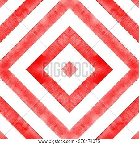 Watercolor Geometric Rhombus Squares Seamless Pattern. Red Stripes On White Background. Watercolour