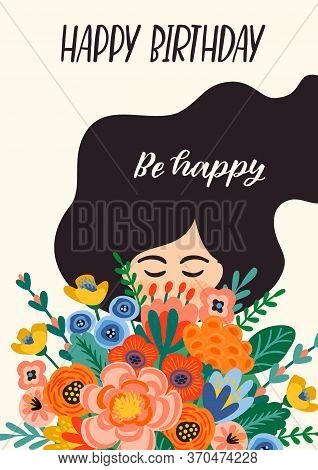 Happy Birthday. Vector Illustration Of Cute Lady With Bouquet Of Flowers.