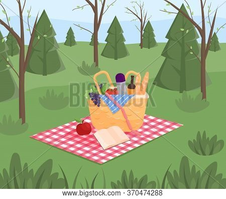Summer Picnic On Forest Background. Family Concept With Picnic Party Stuff. Straw Basket, Wine And F