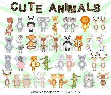 A Large Set Of Scandinavian Animals Tropical And Northern. Cute Scandinavian Style Animals And Desig