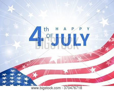 Happy Fourth Of July Poster. Usa Independence Day Celebration. American National Holiday. Invitation
