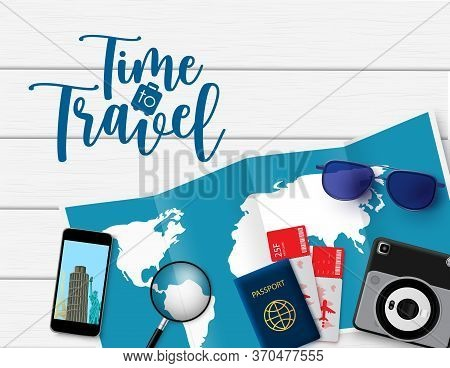 Time To Travel Vector Design. Time To Travel Text In Space With Trip And Tour Travelling Elements Li
