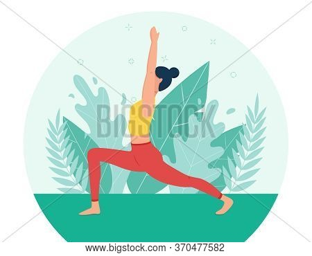 The Girl Does Yoga In The Fresh Air. The Concept Of Outdoor Yoga.yoga Classes In Nature. Flat Style.
