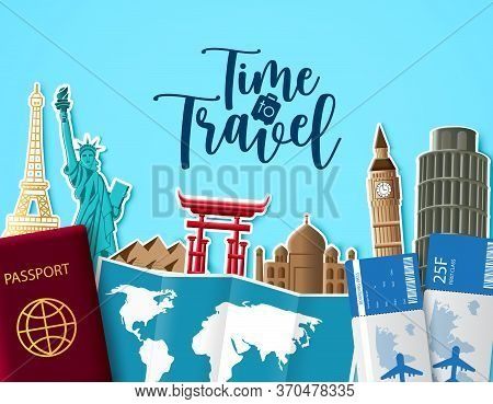 Time To Travel Vector Background Design. Time To Travel Text In Blue Empty Space With Trip And Tour