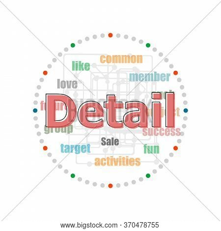 Word Detail On Digital Screen, Business Concept . Word Collage With Different Association Terms