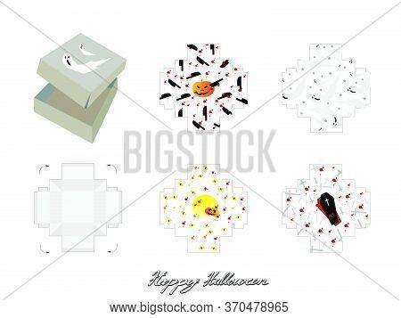 Die Cut Template Pattern Of Takeaway Carton Box Mock Up For Package Design With Jack-o-lantern Pumpk
