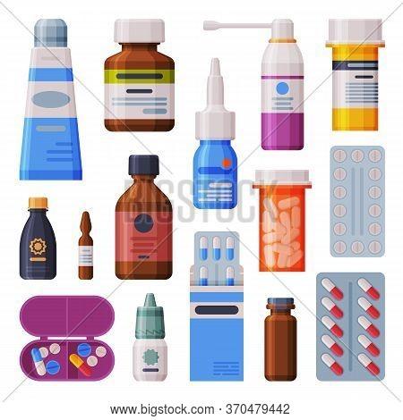 Medicine Bottles And Blister With Capsules Set, Pharmaceutics, Drug Store, Medical Prescription Pack