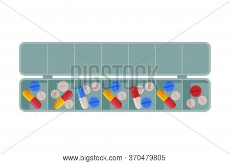 Daily Pill Box Organizer, Pills And Capsules In Plastic Container Flat Style Vector Illustration On