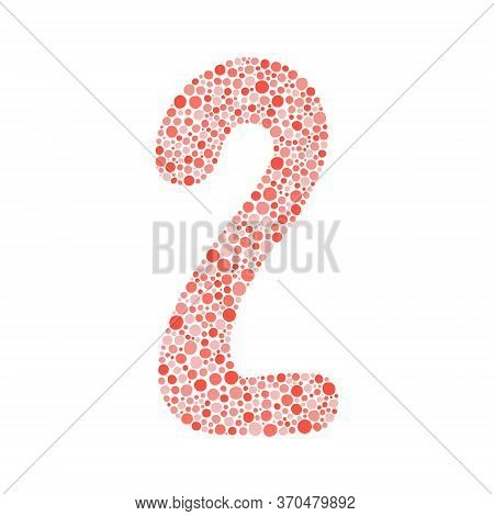 Number Two Silhouette Decorated With Red Dots. Vector Illustration, Easy To Edit, Manipulate, Resize