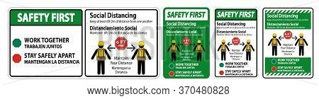 Safety First Bilingual Social Distancing Construction Sign Isolate On White Background,vector Illust