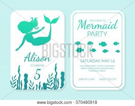 Welcome To Mermaid Party Card Template With Silhouettes Of Mermaid And Aquatic Nature Elements, Unde