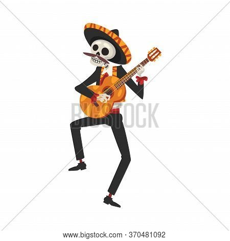 Male Skeleton In The Mexican National Costume Playing Guitar, Day Of The Dead Dia De Los Muertos Con