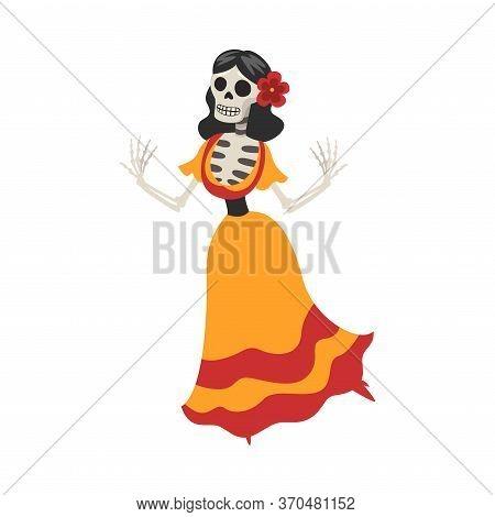 Mexican Woman Skeleton In A Dress Dancing, Day Of The Dead Dia De Los Muertos Concept Vector Illustr