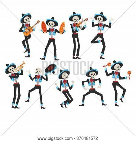 Male Skeletons In Mexican National Costumes And Sombrero Hats Playing Music Instruments And Dancing,