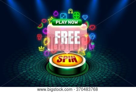 Casino Free Spins Slots Neon Icons, Golden Slot Sign Machine, Night Vegas.