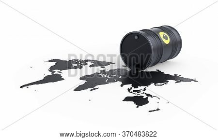 Black barrel from which oil spills. World map of spilled oil. Barrel price of oil. Oil prices inflation. 3D rendering illustration