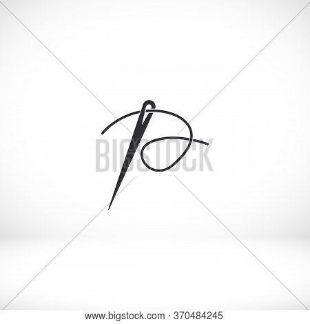 Needle Icon. Vector Eps 10 . Dressmaking Eyelet . Flat Design Needle And Thread