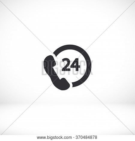 24 H Support Icon In Trendy Flat Style Isolated On 24 H Support Background. Time Symbol For Your Web