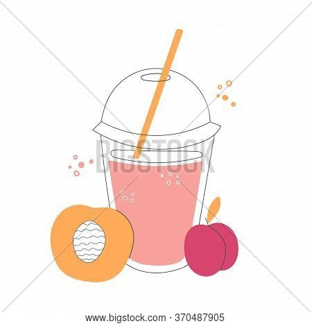 Fresh Peach And Plump Smoothie. Plastic Take Away Cup With A Straw. Delicious Summer Drink On The Go