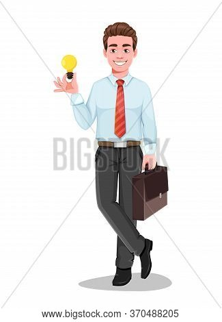 Successful Business Man Has A Good Idea. Handsome Businessman In Business Clothes. Cheerful Cartoon